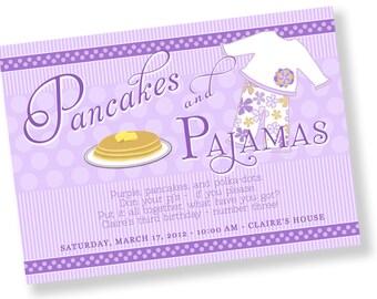 PANCAKES AND PAJAMAS Printable Party Invitation Printing Available