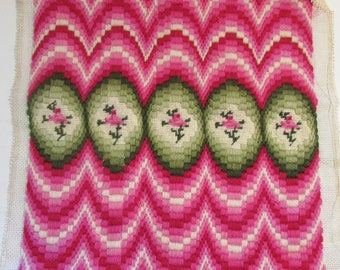 Vintage Finished Needlepoint - Hot Pink Rose Bargello Needlepoint - Pink and Green - Floral with Bargello - Completed Needlepoint Kit -