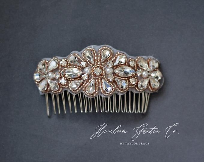 Rose Gold Wedding Hair Comb, Pearl and Rhinestone, Bridal Headpiece, Rhinestone Hairpiece, Bridesmaid, Hair Accessory, 57RG