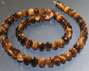 AAA Tiger Eye Micro-Faceted Rondelles 7mm - 8mm