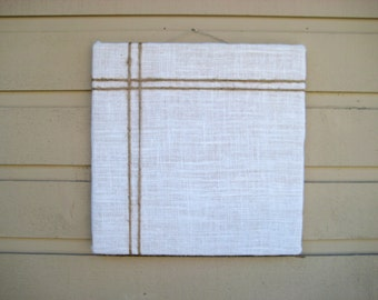 Bulletin Board made with burlap with an accent of natural jute twine, classic designed pin or memo board for your office, bedroom or kitchen
