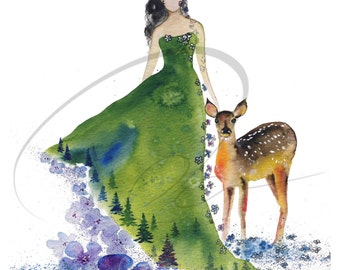 Tenderness - Watercolor Art Giclee Print Forest Spirit Deer Colourful Woman Girl Blue Flowers Available in Paper and Canvas by Olga Cuttell