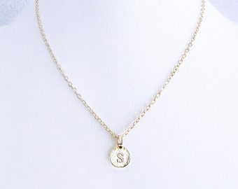 """Delicate gold necklace, personalized S initial gold birthday necklace, """"s"""" jewelry necklace, dainty gold s coin choker, S engraved jewelry"""