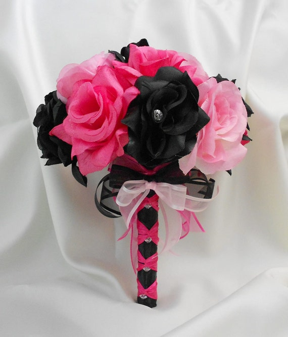Wedding bridal bouquet your colors hot pink black pink mightylinksfo