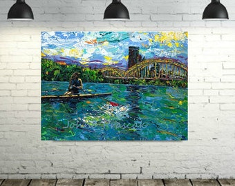 Rowing art, River art, on the water, Pittsburgh Artist, Black n Gold, Three Rivers Pittsburgh,  by Johno Prascak