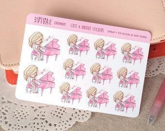 Kawaii autocollants décoratifs pour fille: cours de Piano ~ Valerie ~ pour votre agenda, calendrier, Scrapbook, etc..