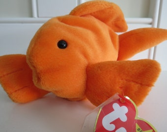 RARE Ty Beanie Baby - GOLDIE the Goldfish, Tag Date ERROR 93 & 94, pvc Pellets, 4th Generation Swing Tag, Mint Condition, No Stamp Tush Tag