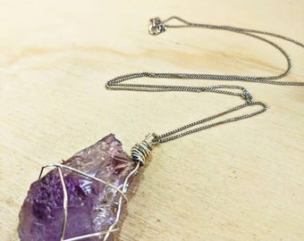 Elegant Sterling Silver Raw Amethyst Necklace