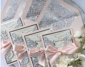 Blush and Silver Invitation