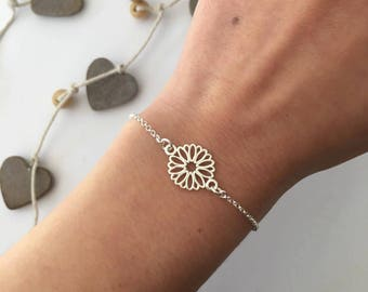 Sterling Silver and Flower chain bracelet