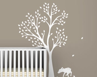 White Fawn Tree Wall Decal by LittleLion Studio