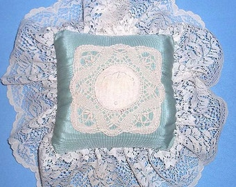 Gorgeous Lace & Silk Moire Pillow with Applied Doily for Baby's Room or Bed