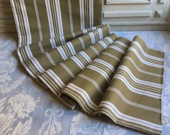 "Authentic French mattress ticking, striped metis linen 85"" x 66"" UNUSED Vintage French 1930's fabric upholstery repurposing country chic."
