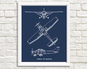 Cessna 172 Skyhawk Blueprint, Cessna 172, Instant Download, Blueprints, Aircraft Blueprint, Cessna 172, Cessna Gift, Aviation Decor, 8x10