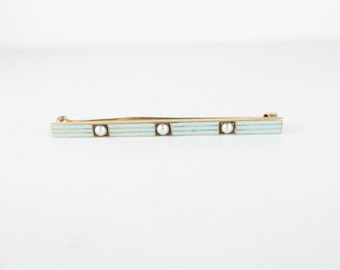 Vintage 14k Gold Bar Pin with Enamel and Seed Pearls