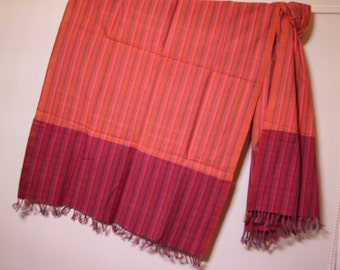 The 'Agni' Orange and Burgundy Scarf from Weaving Destination 100% Organic Cotton