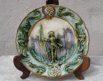 French antique majolica plate, decorative plate, antique plates, French plates, Joan of Arc plate, majolica plate, french wall plate,