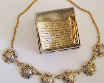 Vintage 1950's Jewelry Treasures of The World, Damascened Jewelry  necklace. Toledo, Spain .
