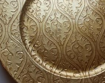 Set of 4 GOLD DAMASK CHARGER Plates Chargers Embossed Distressed Tableware Plate Bride Groom Golden Gatsby Glam Floral Wedding Placemat