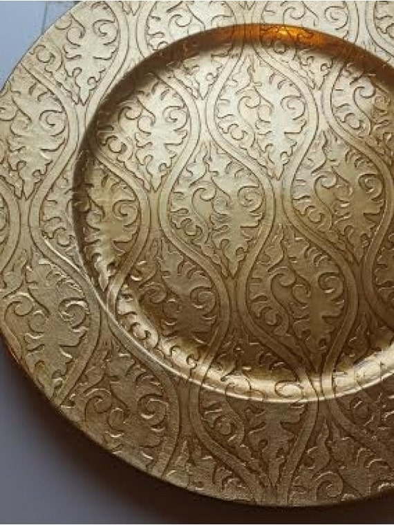 Like this item? & Set of 6 GOLD DAMASK CHARGER Plates Chargers Embossed
