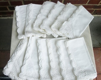White Linen Cloth Table Napkins with embroidered Edge – Set of 12 – Excellent Quality Never Used