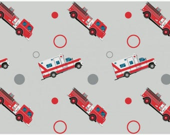 Emergency Cars, Ambulance Car and Fire truck in Grey or Blue Cotton Jersey