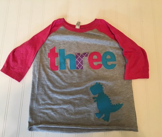 Girls dinosaur birthday raglan, three dinosaur shirt, 3 girls t tex raglan shirt