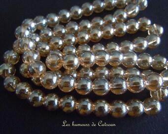 20 round 8mm light Topaz glass beads
