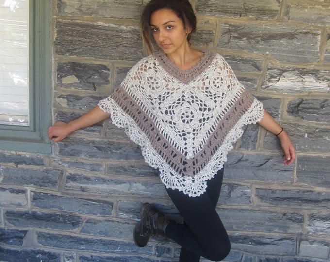 FLOWER MOTIF PONCHO,  Boho poncho, crochet afghan Poncho, womens poncho, festival clothing, gypsy hippie poncho/ newly listed!