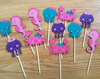 12 Girly Under the Sea Cupcake Toppers, Under the Sea Birthday, Mermaid Birthday, First Birthday, Mermaid Decor, Under the Sea Decor, Crab