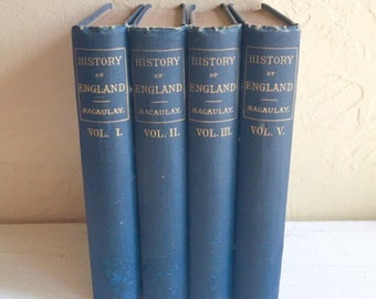 Set of 4 Antique 1800s Books Blue Home Decor Vignette History of England over 100 years old Classic Hardcover Books