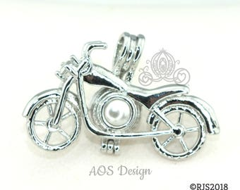 Pick A Pearl Cage Motorcycle Bike Biker Ride Rider Travel Silver Plated Charm Necklace Holds Bead or Pearl