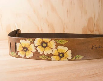 Guitar Strap - Personalized Leather Guitar Strap in the Smokey Pattern with Flowers in Antique Brown - For Acoustic or Electric Guitars