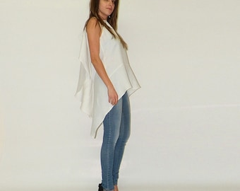 White linen tunic / Loose linen top / Extravagand top / Flax tunic