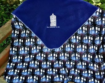 Doctor Who Fleece Baby/Kids Blanket - Personalized Name Custom Embroidered Tardis Police Box Baby shower gift - unique gift bedding