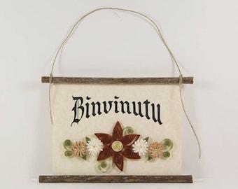 Binvinutu, Sicilian Welcome, Paper Quilled Sicilian Welcome Sign, 3D Paper Quilled Banner, Brown Cream Tan Decor, Sicily Gift, Sicily Decor