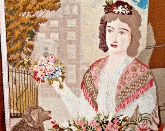 1800s Fireplace Screen Petite Point - British Needle Point - Tapestry - Textile - Lady Dog - Flower  Bouquet - Eliza Doolittle - London