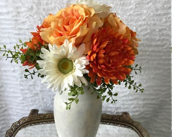Artificial Floral Arrangement with Roses, Mums, and Daisies (Cream, Orange, and Green) in a Painted Vase