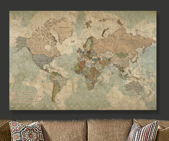 Travel map of world on canvas world map decor world map travel map of world on canvas world map decor world map canvas art large canvas world map art world map print modern map vintage map gumiabroncs Image collections