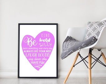 Inspiration Quote Print | Wall Art | Typography | Home Decor | Be Bold | Purple