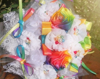 White and rainbow bouquet - wedding fabric bouquet