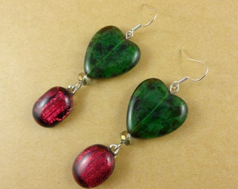 Red and Green Heart Earrings - green glass hearts, red dichroic glass, Christmas earrings, romantic earrings, holiday earrings, Valentines