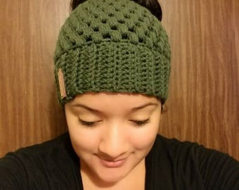 Crochet Adult Messy Bun Hat, Messy Bun Hat, Messy Man Bun Hat, Pony Tail Hat, Messy Bun Toque, Claire Messy Bun, Claire Messy Bun Hat