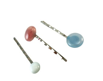 Pastel Bobby Pin Set of Three, Pastel Accessories for Women Gifts, Stylish Hair Pins Silver, Assorted Cabochon Hair Accessories for Updos