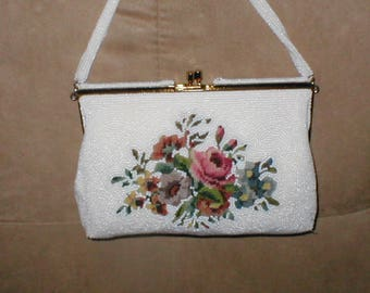 Vintage White Beaded with Floral Needlepoint Evening Purse