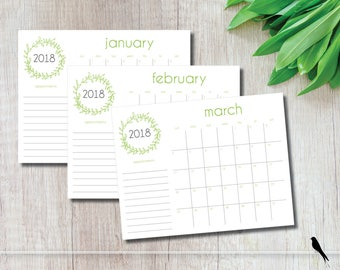 2018 Printable Wall Calendar - Pretty Green Woodland Banner Monthly Wall Calendar - Home Business Family Planner - Instant Download Calendar