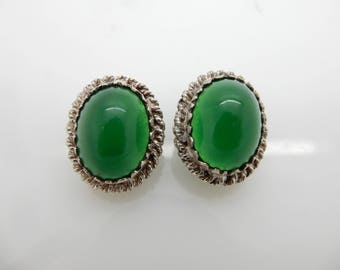 Solid Vintage Silver 800 Green Chrysoprase Leverback Ornate Earrings; sku # 4708