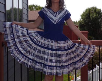 MEXICAN PATIO DRESS royal blue silver circle skirt S (A3)