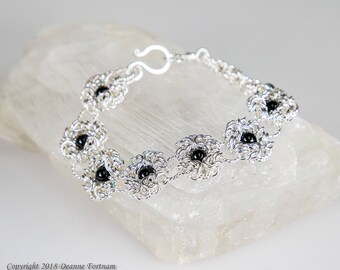 Black Onyx and Sterling Silver Bracelet
