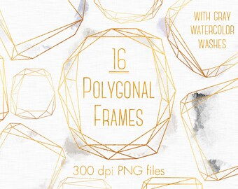 Gold and Gray watercolor frames, Wedding clipart, Gold watercolor, Gold Watercolour frames clipart, Gray design elements, Polygonal clipart